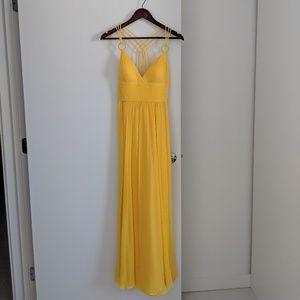 Aidan Mattox Yellow Maxi Dress